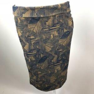 LuLaRoe Cassie Navy Gold Pattern Pencil Skirt Sz M